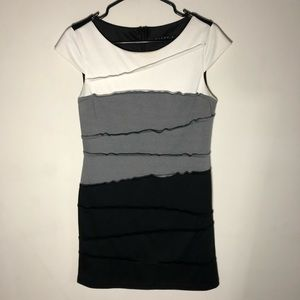 Tiana B. Dress Size Medium Black Gray White
